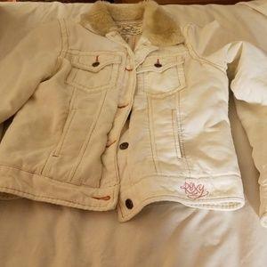 Women Roxy cream corduroy jacket sz XL